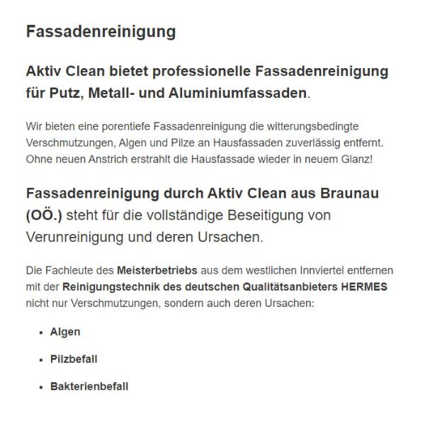 Fassadenreinigung für  Salzburg, Hallein, Sankt Johann im Pongau oder Saalfelden am Steinernen Meer