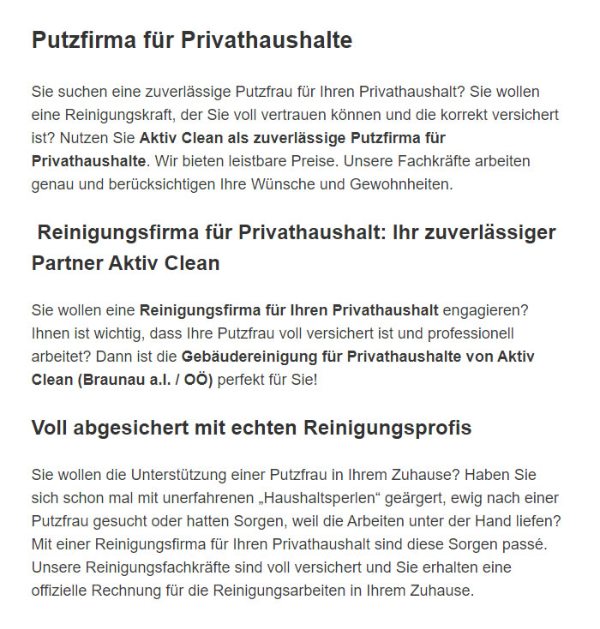 Reinigung fuer Privathaushalte in  Steinhaus