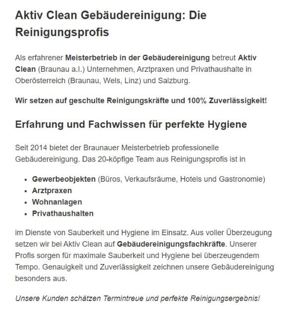 Reinigungsfirma in  Steinhaus